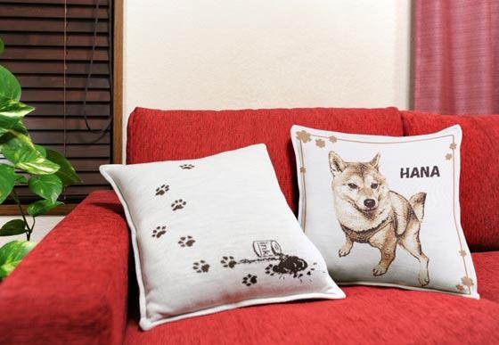 柴犬のクッションonソファー